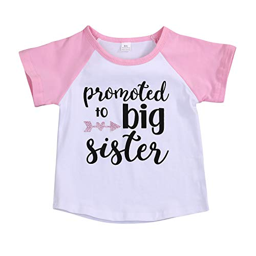 Toddler Girls T-Shirt Promoted to Big Sister Letters Print Kids Short Sleeve Tops (18-24 Months, Pink)
