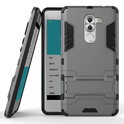 KOPSH for Huawei Honor 6X (2016) Kickstand Armor Case TPU + PC Hybrid Cover with Built-in Support (Grey)