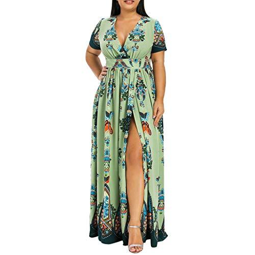 VEMOW Plus Size Elegante Damen Frauen Casual Kurzarm Kalt Schulter Boho Blumendruck Casual Täglichen Party Strand Langes Kleid Schulterfrei Strandkleid(Y3-Grün, 48 DE/XXL CN)