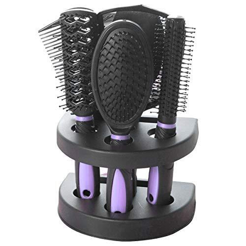 5Pcs Brosse à Cheveux à Palette Kit de Peigne de Massage Antistatique avec Support Miroir de Maquillage Brosse de Démêlage Domestique pour Hommes Femmes Enfants