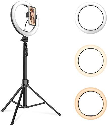 Flashes Macro y Anulares Luz de anillo LED con trípode Soporte Titular de teléfono Luz de anillo de escritorio con 3 colores y 10 Brillo YouTube Video Maquillaje Selfie Selfie Fotografía Luz de rellen
