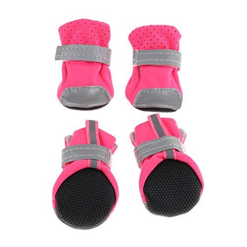 Amuzocity Pet Small Medium Dogs schoenen antislip robuuste zool ademende laarzen zomer - roze, L