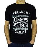 My Generation Gifts Vintage Year - Aged To Perfection - Regalo di Compleanno per 70 Anni Maglietta da Uomo Nero M