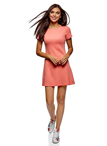 oodji Ultra Mujer Vestido Básico con Cuello Redondo, Rosa, ES 44 / XL