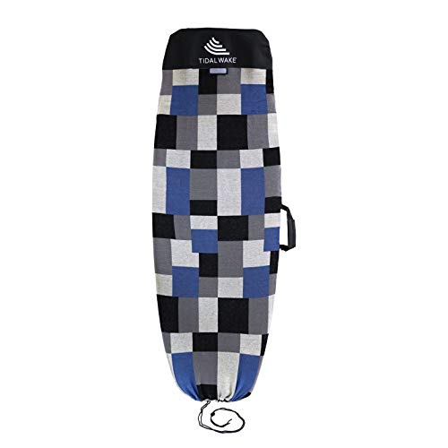 """Tidal Wake TAG-IT Snub Nose Surf & Wake Board Sock Bag with Built-in Carrying Handle & Name TAG 58"""", Tag Your Bag - Personalize with Your Name! (Blue & Gray Colorblox Design)"""
