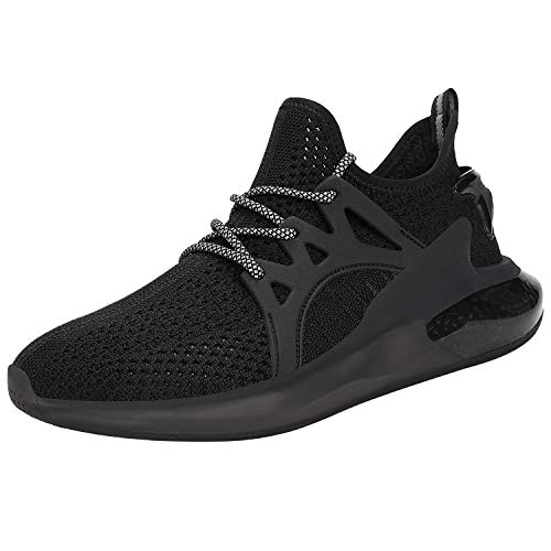 Feetmat Mens Running Tennis Shoes Slip On Resistant Sneakers Fashion Zapatos de Hombre Gym Sport Non Slip Casual Walking Shoes for Men Black Size 12