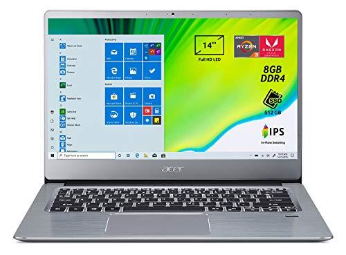 Acer Swift 3 SF314-41-R27G Pc Portatile, Notebook con Processore AMD Ryzen 3 3200U, RAM 8 GB DDR4, 512 GB PCIe NVMe SSD, Display 14' FHD IPS LED LCD, AMD Radeon Vega 3, Windows 10 Home, Silver