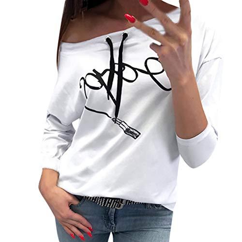 iHENGH Damen Frühling Sommer Top Bluse Bequem Lässig Mode Frauen Blusen beiläufiges Drucken Lange Hülsenpulli Blusen Hemd Sweatshirt(Weiß, S)