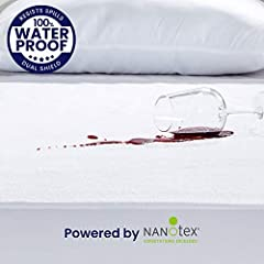 DUAL PROTECTION. We applied an enhanced double protection design on this waterproof mattress protector. We upgraded the hypoallergenic cotton fabric with NanoText DualSield, which is a nanotech treatment that fundamentally transformed the fabric perf...