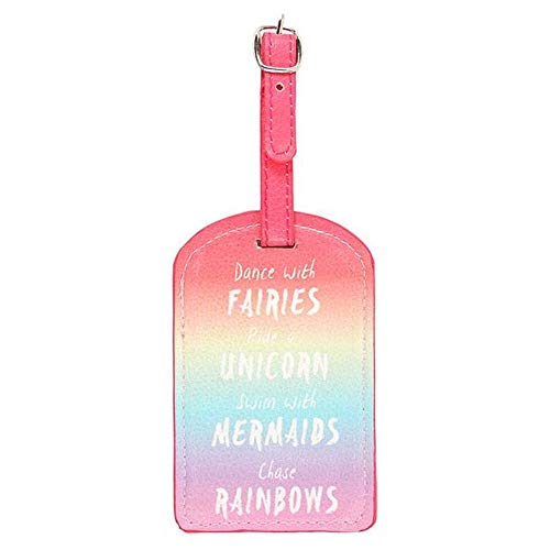 1 x Dance With Fairies Swim With Mermaids Ride A Unicorn Rainbow Luggage Tag
