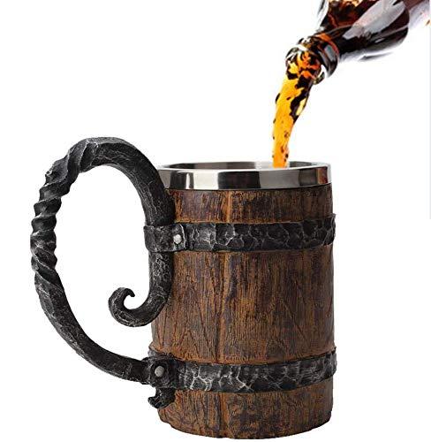 LayOPO - Taza de cerveza hecha a mano de madera de acero inoxidable, 550 ml, diseño creativo de barril de madera de imitación de resina de doble capa de cerveza, jarra de cerveza