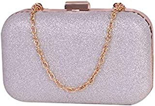 BEESCLOVER Hot Fashion PU Leather Women's Mini Evening Bag Fashion Clutch Banquet Bag Girls Shoulder Bag Messenger Bag Silver One Size