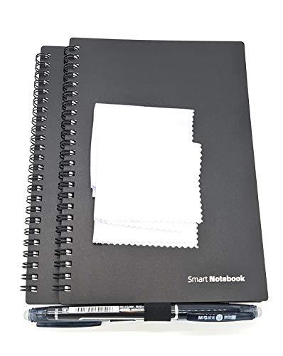 Dreiklang 2er Set Klein wiederverwendbares smartes Notizbuch Schreibblock, schwarz, Exekutive DIN A 5, Linien, inklusive Stift und Microfasertuch