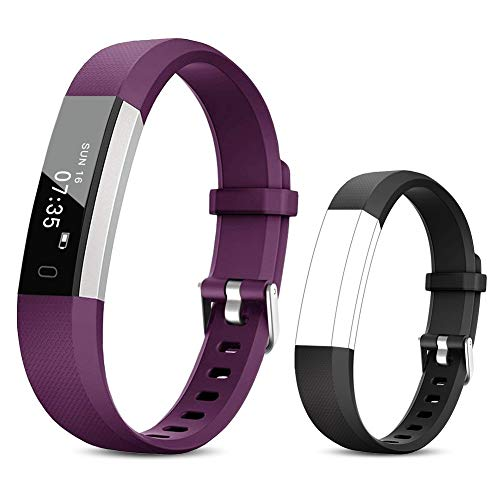 TOOBUR Fitness Activity Tracker Watch for Kids Girls Women, Pedometer, Calorie Counter, IP67 Waterproof Step Counter Watch with Sleep Monitor and Vibrating Alarm Clock (Purple Black)
