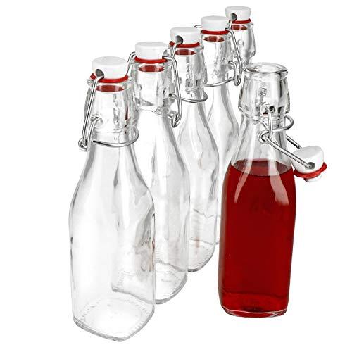 Bormioli 6er Set Glasflaschen Serie Swing mit Bügelverschluss 0,25 Liter