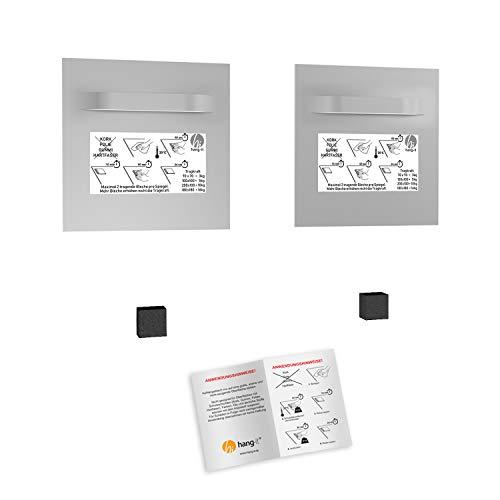 hang-it Spiegel Aufhänger Set inkl. 2 Spiegelaufhänger - 100x100 mm Spiegelhalter und 2 Abstandshalter