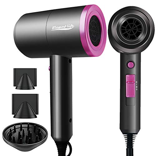 Ionic Hair Dryer, Elegant Life 1800W Professional Blow Dryer Built-in Powerful AC Motor, 3 Heating/2 Speed/Cold Settings, with 2 Nozzles and 1 Diffuser, for Home Salon, Travel, Pregnant & Kid