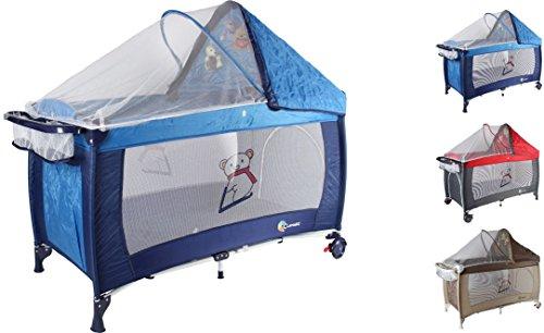Clamaro 'Dream Traveler' Kinder Baby Reisebett (6 Farben) zusammenklappbar, höhenverstellbar, Kinderreisebett mit Einhang, Faltmatratze (2cm dick), Moskitonetz, Wickelauflage - Farbe: blau