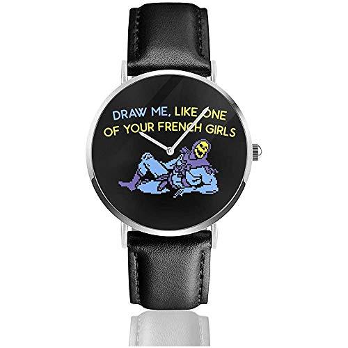 Skeletor Draw Me Titanic Meister des Universums Uhren Quarzlederuhr mit schwarzem Lederband für Sammlungsgeschenk