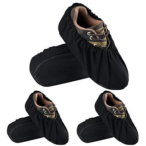 3 Paar Stiefelüberzieher Nylon wiederverwendbar Schuhüberzieher wiederverwendbar für Arbeitsplatz Indoor Schwarz
