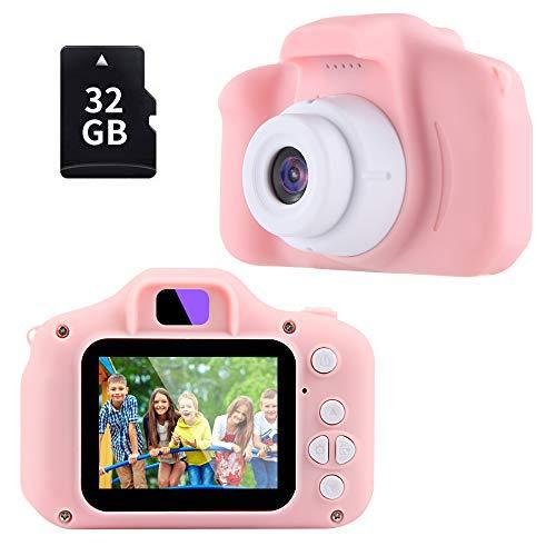 Cámara Fotos Niños,TekHome Regalos Niña 3 4 5 6 Años, Juguetes Niña 7-12 Años, Regalos Cumpleaños Navidad Originales para Infantil,Cámara Digital 1080P HD Video,con 32GB Tarjeta SD,Rosa.