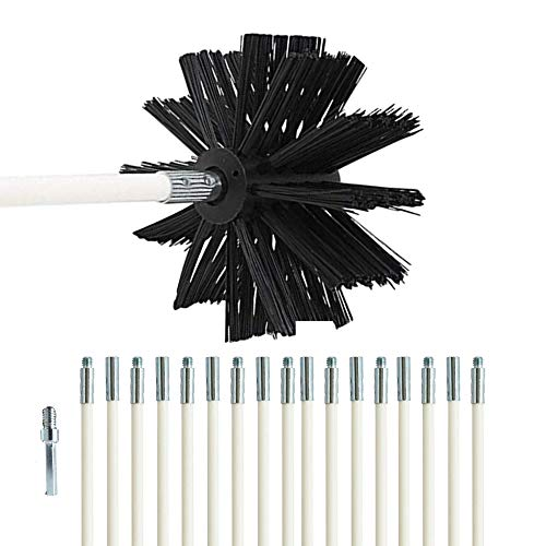 Dryer Vent Cleaning Brush Kit -(24-Feet) Highly Effective Chimney Brushes Vent Trap Cleaner Strong and Flexible with Bonus Drill Adapter Included for Faster Lint Removal. Use with Or Without Drill