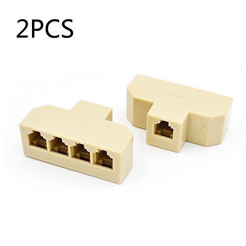 2PCS RJ11 1 to 4 Splitter Teleph...