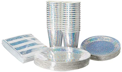 Serves 30 | Complete Party Pack | Silver Prismatic Party Supplies | 9' Dinner Paper Plates | 7' Dessert Paper Plates | 9 oz Cups | 3 Ply Napkins | Silver Prismatic Themed Birthday Party Supplies