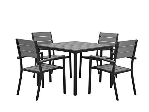 Beliani Modernes Gartenmöbel Set in Grau für 4 Personen Aluminium Kunstholz Prato