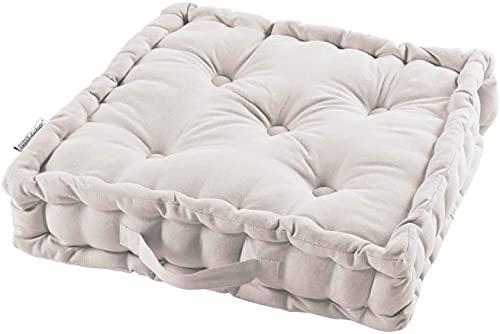 TIENDAEURASIA® Cojines de Suelo - 100% Algodón Lisa - Ideal para sillas, Bancos, palets, Suelos - Uso Interior y Exterior (Blanco, 45 X 45 x 10 cm)