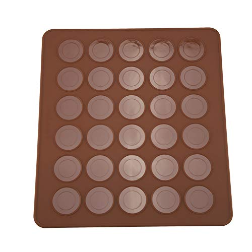 Oumefar Molde redondo de silicona para macarons con 30 agujeros, resistente al calor