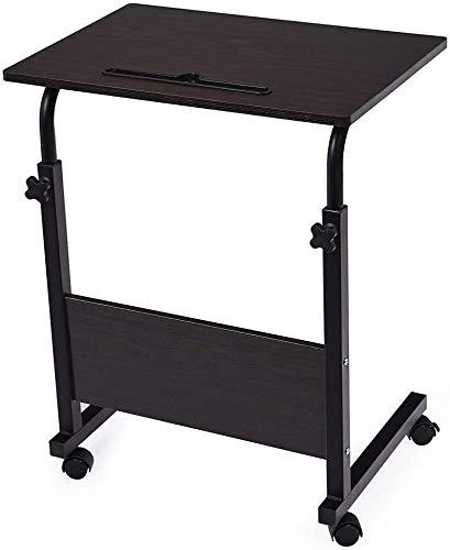 LY88 Verstellbarer Überbetttisch, Laptopständer Tragbarer Stehpult mit abschließbaren Rädern Beistelltisch für Bett Sofa Krankenhaus Lesung Esswagenwagen Tablett, Schwarz