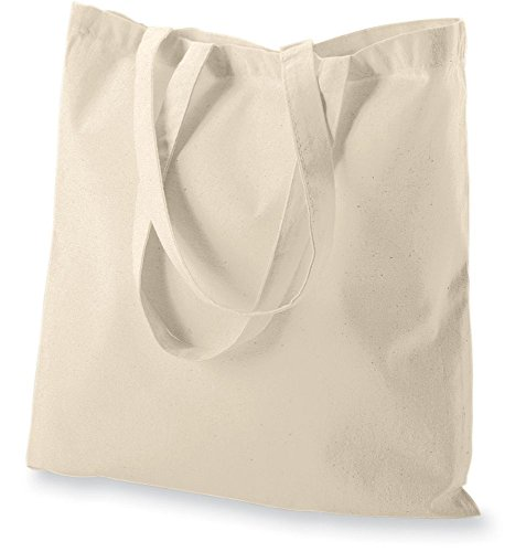 Atmos Green 12 pack 15 X 16 inch with 27 inch long handle Natural color 100% cotton reusable grocery bags 5.5 oz cotton canvas bags eco friendly super strong washable great choice for promotion branding and gift Made in India