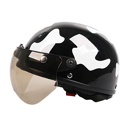 MRDAER Medio Casco de Moto, Medio Casco de Moto Crash, Casco de Scooter Retro Casco Unisex de Motociclista Cruiser, Casco Vintage para Adultos con certificación ECE (53-59cm)