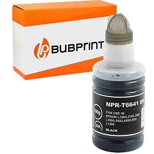 Bubprint Kompatibel Druckerpatrone als Ersatz für Epson T6641 für EcoTank ET-14000 ET-2500 ET-2550 ET-2600 ET-2650 ET-4500 L355 L555 100ml 4000 Seiten Schwarz