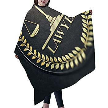 SUPNON Professional Barber Cape Cutting Hair Beard Hairdressing Cape Anti-Static Haircut 55×66 inch Advocacy Or Lawyer Gold Symbol Over Black Background IS163350