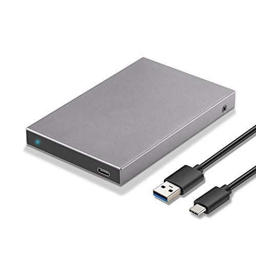 SSK Aluminium 2,5-Zoll-USB-C-zu-SATA-Gehäuse für Externe Festplattengehäuse Hochgeschwindigkeits-Adaptergehäuse für Externe Festplattengehäuse Typ C für 7 mm und 9,5 mm 2,5-Zoll-SATA I II III,