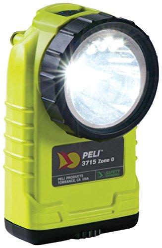 PELI 3715Z0 Torcia a LED ad angolo retto omologata per la sicurezza ATEX Zona 0, IPX4 resistente all'acqua, 189 Lumen, 31h Tempo di esecuzione, Colore: giallo