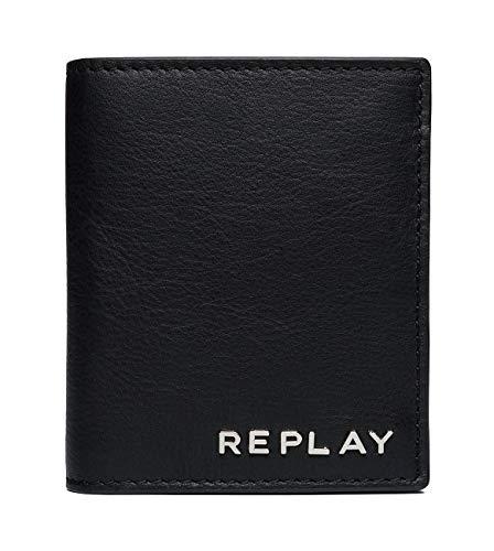 Replay Herren Fm5163.000.a3146 Geldbörse, Schwarz (Black), 1x10,5x9 cm