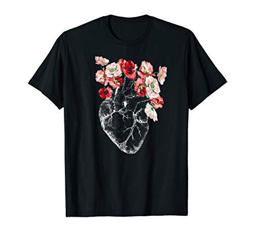 Anatomisches Herz und Blumen T-Shirt Tee