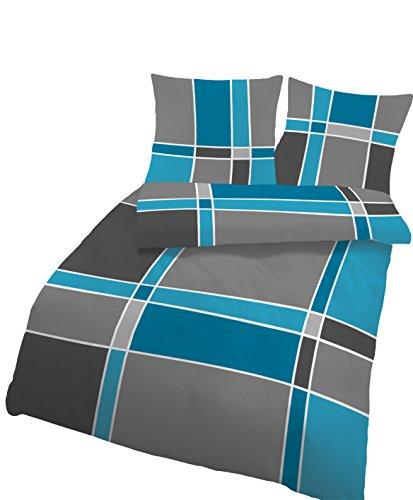 Träumschön Bettwäsche 155x 220 Biber | Oeko-Tex Standard Zertifiziert | Bettwäsche 155x 220 Biber mit Reißverschluss | Bettwäsche 2 teilig Baumwolle