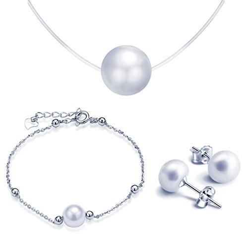 Juegos de Joyas- Yumilok Collares & Pulsera & Pendientes para Mujer de Plata 925 y Perlas, 3 PCS
