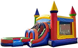 TentandTable Rainbow Wet Dry Kids Bounce House Tunnel Front, Slide Climbing Wall Combo, Commercial Grade Inflatable, Blower Included