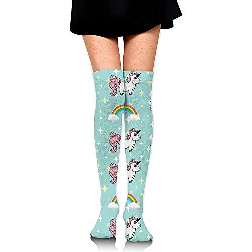 Uridy Unicornios y arcoiris Calcetines hasta la rodilla para mujer Calcetines de moda Medias divertidas de pierna de tubo