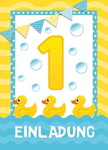 12 Einladungskarten zum 1. Geburtstag Kinder erste Kindergeburtstag Ente Tiete