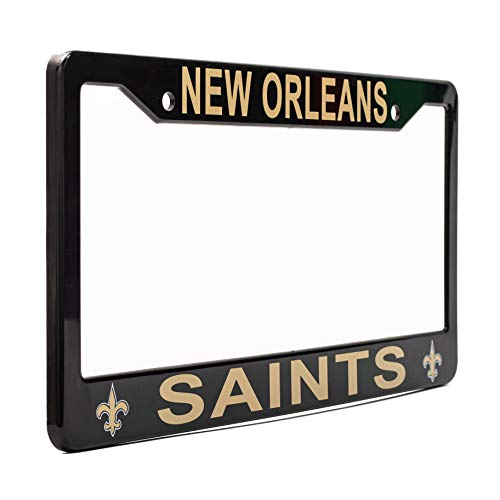 """EliteAuto3K New Orleans Saints License Plate Frame Cover – Black – 12.25"""" x 6.25"""" - NFL Car Accessory - Ideal Gift for Sports Fans & Supporters – Slim Design"""