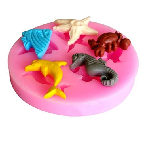 Rose 55 * 55 * 10mm 3D antiadhésif réutilisable dauphin crabe hippocampe ange poisson gâteau de silicone de qualité alimentaire moule fondant au chocolat populaire (couleur: rose)