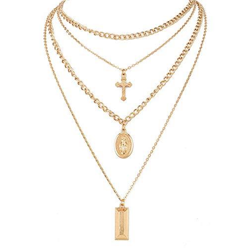 ZUXIANWANG Moda Vintage Religiosa Cadena De Eslabones De Oro Collares Multicapa Y Colgantes Cruz Collar De Cadena De La Mujer