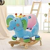 Kibten Preciosa coronada elefante felpa del animal relleno del eje de balancín de madera del bebé del caballo mecedora con cinturón de seguridad de empuje de la mano de la polea, rellena felpa suave o