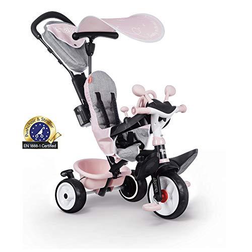 Smoby 741501 - Baby Driver Komfort Rosa - 3-in-1 Kinder Dreirad, mitwachsendes Multifunktionsfahrzeug, für Kinder ab 10 Monaten